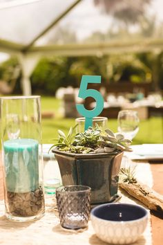 Planted succulents and candles compliment the beachy rustic theme. Wedding Photographer: Creatrix Photography.