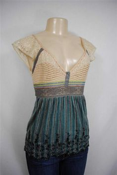 FREE PEOPLE Belted Lace Embroidered Boho Peasant Vintage Shirt Tank Top Blouse 2