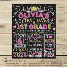 Girl 1st Day of School Sign Pink and Gold by stockberrystudio
