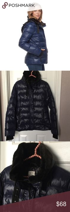S 13/NYC down jacket Like new, only worn twice, faux fux collar, so soft, cover neck completely, has attached hood hidden, thumbholes, has a light shine. Still selling in store. Feather filled so super warm. S 13/NYC Jackets & Coats