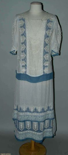 Lace and Eyelet Summer Tea Gown, circa 1922, via Augusta Auctions.