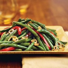 Green Beans With Shallots and Red Pepper Recipe | MyRecipes.com