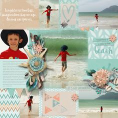 My Arty Pockets #4 templates by Heartstrings Scrap Art. Creative pocket scrapping made easy! Enjoy using these templates that combine traditional pocket scrapping with a bit of arty fun.  Clip photographs or papers to the masks, recolour the paint layers or clip paper to them too! Layout by Bryony Digital Scrapbooking, Laughter, Heartstrings, Templates, Beach, Day, Creative, Layouts, Masks