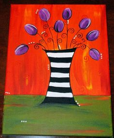 Black white stripes purple tulip  by Freda   Acrylic on Stretched Canvas  www.zealousart.com