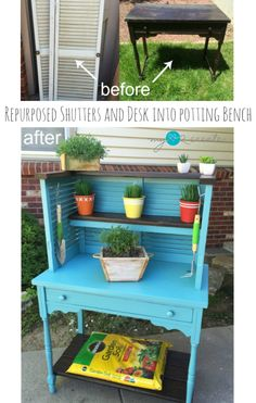 Repurposed Shutters and desk into potting bench