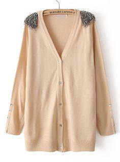 Beige Long Sleeve Tassel Epaulet Cardigan Sweater - Sheinside.com
