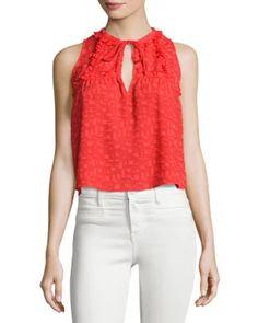 TDEWM Iro Ragnhild Sleeveless Textured Boxy Top, Red-Orange
