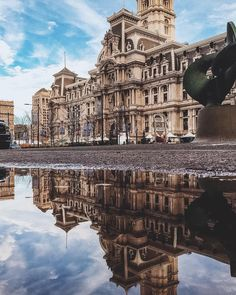 Philadelphia City Hall reflected after a rainy day (Photo by @adam_englehart on Instagram)
