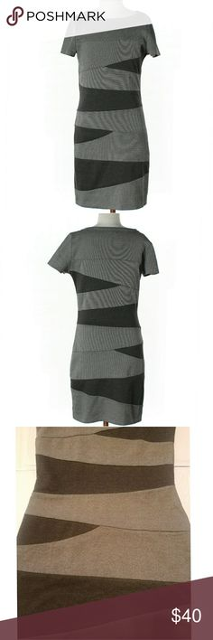 """MISS ME Sexy Form Fitting Boston Casual Dress NWOT If this Miss Me Couture Dress had tags it would be New. NEVER WARN, missing price tag. Blocked Black on Gray Detail, Great Stretch. SIZE XS 26-30"""" Chest, 30"""" Length  #316 Miss Me Dresses Midi"""