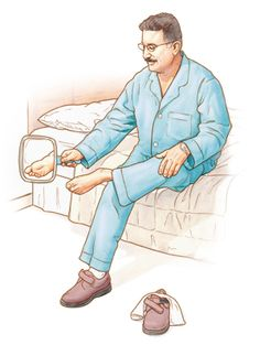 If you have loss of sensation in your feet, check them daily for problems.