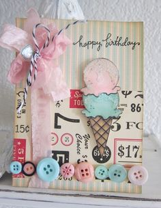 Darling Pastel Happy Birthday Card...with button trim.
