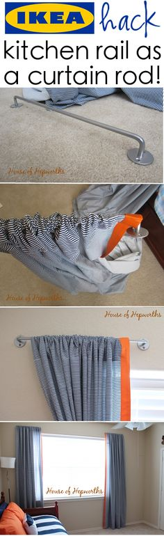 ikea hack! Use a Bygel kitchen rail as a curtain rod! Also, learn how to diy your own curtains at houseofhepworths.com.......maybe an idea for the landing curtains hmmmm