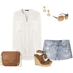 summer casual outfits capris polyvore - Google Search