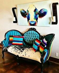Turquoise serape cow  cowhide couch western