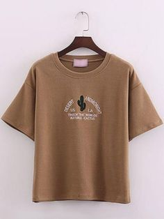 Brown+Short+Sleeve+Cactus+Embroidered+T-Shirt+10.81
