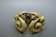 Vintage Joseff of Hollywood Double Snake red cabochon Bracelet