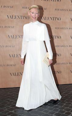 WHO: Tilda Swinton WHAT: Valentino WHERE: Valentino couture show WHEN: July 9, 2015