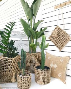 Mother, Alicia Curtis, from the Gold Coast shows how you can turn a $1.95 Bunnings Warehouse doormat into a luxe raffia-inspired plant pot (pictured)