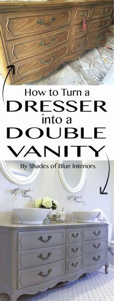 Stunning Bathroom Tour + Dresser into Double Vanity - Diy Furniture Bedroom Diy Vanity, Diy Bathroom Vanity, Vanity Ideas, White Bathroom, Bowl Sink Vanity, Mirrored Vanity, Vanity Tops, Mirror Ideas, Master Bathroom