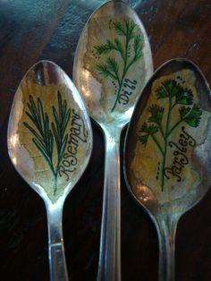 Cucchiaio vintage erba marcatori personalizzati di HomespunSprout
