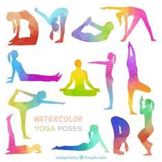 poses de ioga Watercolor Vetor grátis