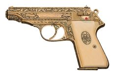 """This is a Walther factory-engraved, presentation-grade Model PP pistol. It features a detailed, deep-relief """"Oak Leaf and Acorn"""" engraving, and it has been fitted with a set of matching grips that have an oval presentation inset on the left side with the raised initials """"MG"""", and a large Nazi eagle on the right grip panel. The initials may indicate that it was presented to SS-Untersturmfuhrer Maximilian Grabner, a Gestapo chief, Auschwitz political officer, and war criminal hanged in 1948."""