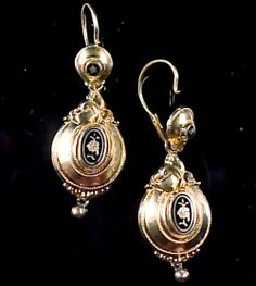 before 1800 Stunning Georgian Day/Night Enamel Gold Earrings by brsquared, $750.00