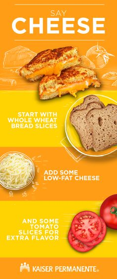 Celebrate National Grilled Cheese Month the healthy way. Smart Snacks, Low Fat Cheese, Pan Integral, Whole Wheat Bread, Eating Well, Grilling, Healthy Living, Nutrition, Digital Signage