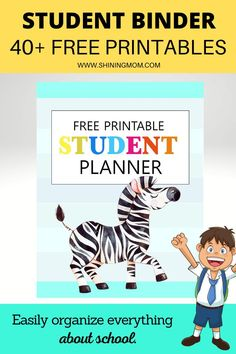 Click to download this huge collection of free Student Planner and Binder printables. Organize online learning schedules, school activities, assignments, and more! #backtoschool  #freeplanner Student Teacher Binder, Student Goals, School Planner, Student Planner, Free Planner, School Organization, Elementary Schools, Back To School, Homeschool