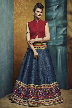A classy outfit that will be perfect for all those festive parties! Buy Lehenga online - http://www.aishwaryadesignstudio.com/astounding-red-blue-classy-lehenga