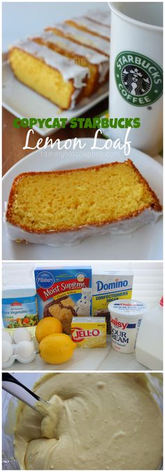 starbucks lemon bread collage Copycat Starbucks Lemon Loaf