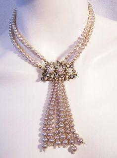 Vintage Miriam Haskell Rhinestone Pearl Bead Necklace