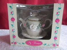 My Treasure Classic Collectable Hand Painted Porcelain Hinged Teapot & Saucer #Mytreasure