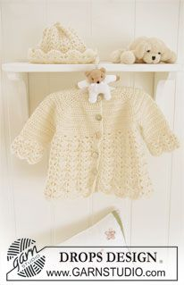 "Crochet DROPS jacket with raglan and hat with fan pattern in ""Baby Merino"". ~ DROPS Design"