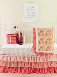 Pretty as a Peach Ombre Skirt, Crib Sheet, and Crib Blanket   Lottie Da Baby