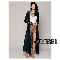 Black Boho Duster Sweater Biho chic duster sweater open cardi. Made of poly blend. Size M/L brand new without tags. Sweaters