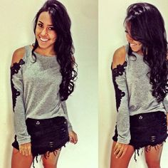 Love this so much! Open shoulders and frayed shorts.