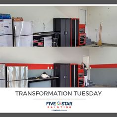We are loving the results from this garage makeover! #transformationtuesday #garagemakeover #fivestarpaintingloudoun #homeremodel #professionalpainting #loudouncountyva Star Painting, Garage Makeover, Transformation Tuesday, Home Remodeling, Loft, Bed, Furniture, Home Decor, Decoration Home