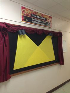 Spotlight work on stage bulletin board-great for our theme (who's the greatest)