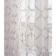 Exclusive Fabrics Florentina Silver Embroidered Sheer Curtain Panel