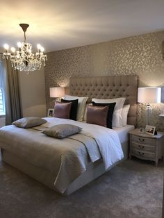 Elegant bedroom design, decoration with simple things Romantic Master Bedroom, Small Master Bedroom, Master Bedroom Design, Home Decor Bedroom, Master Bedrooms, Bedroom Furniture, Bedroom Designs, Warm Bedroom, Luxury Furniture