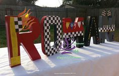 from START to FINISH customized letters for a little boys bedroom wall or birthday party. You can celebrate by adding these customized letters Hot Wheels Birthday, Hot Wheels Party, Race Car Birthday, Monster Truck Birthday, 16th Birthday, Nascar Party, Race Car Party, Car Themed Parties, Cars Birthday Parties