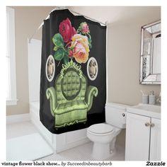 vintage flower black shower curtain