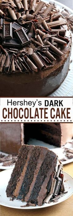 Dark Chocolate Cake Moist, rich, chocolaty perfection, something that every chocolate fan should taste, this is one of those must-have recipes. Dark Chocolate Cakes, Homemade Chocolate, Chocolate Desserts, Chocolate Bowls, Chocolate Decorations, Food Cakes, Cupcake Cakes, Cupcakes, Cake Recipes