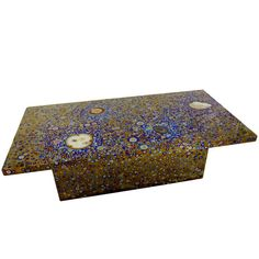 21th Century Patinated Titanium Coffee Table Inlaid with Phosphorescent Agates 1