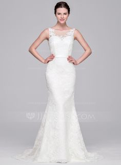 Trumpet/Mermaid Scoop Neck Sweep Train Zipper Up Covered Button Regular Straps Sleeveless Church General Plus No Spring Summer Fall Ivory Lace Wedding Dress