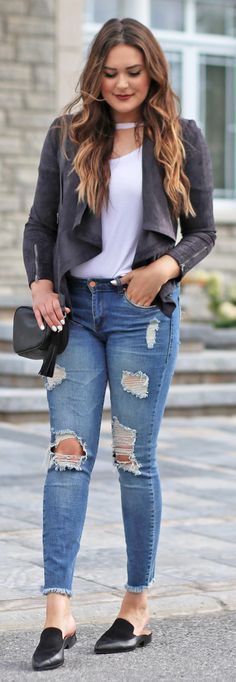 Want to re-create this look | | Fashion blogger Michelle Kehoe of Mash Elle styles a fall inspired outfit with a cutout choker t-shirt from Nordstrom, ripped skinny jeans, black loafer sliders, a Gucci Soho Disco Bag dupe, a suede moto jacket. This everyday casual outfit is wearable and affordable.