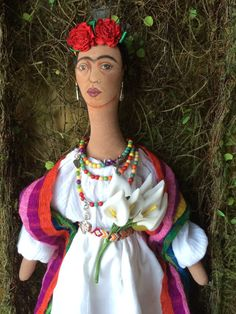 Frida Kahlo 19 Cloth Primitive Art Doll OOAK by ChicoStudios