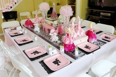Paris themed birthday party. there's a lot of other great ideas and set ups on this website for little birthday themes!
