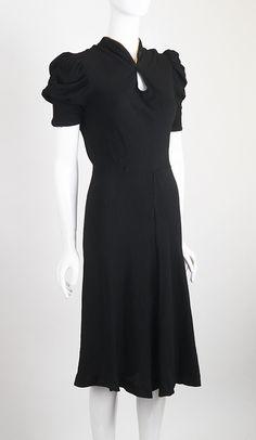 Crepe Bias Cut 1930s Cocktail Dress at ballyhoovintage.com